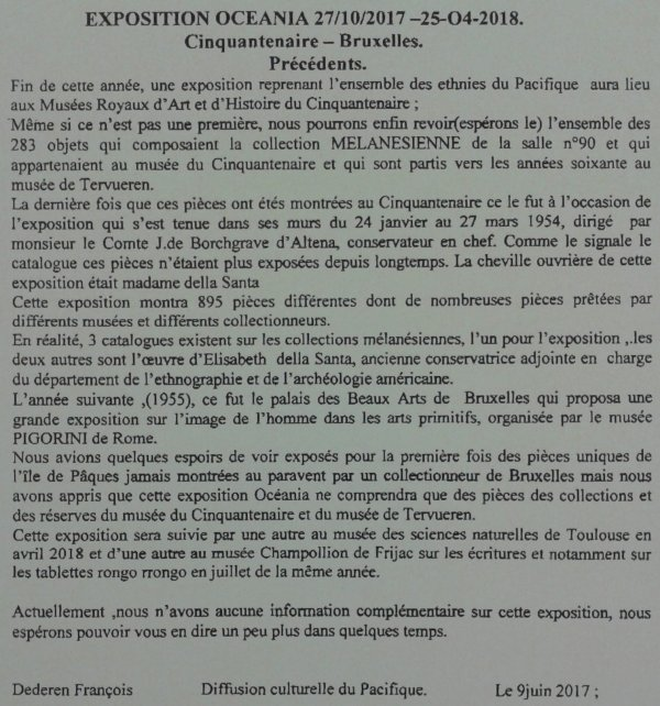 """321e article de FD: """"Exposition OCEANIA du 27/10/2017 > 25/04/2018 (MRAH - Bruxelles)"""