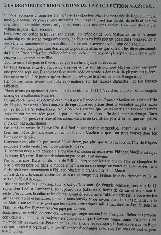 """326e article de FD: """"Les dernières tribulations de la collection Mazière"""""""