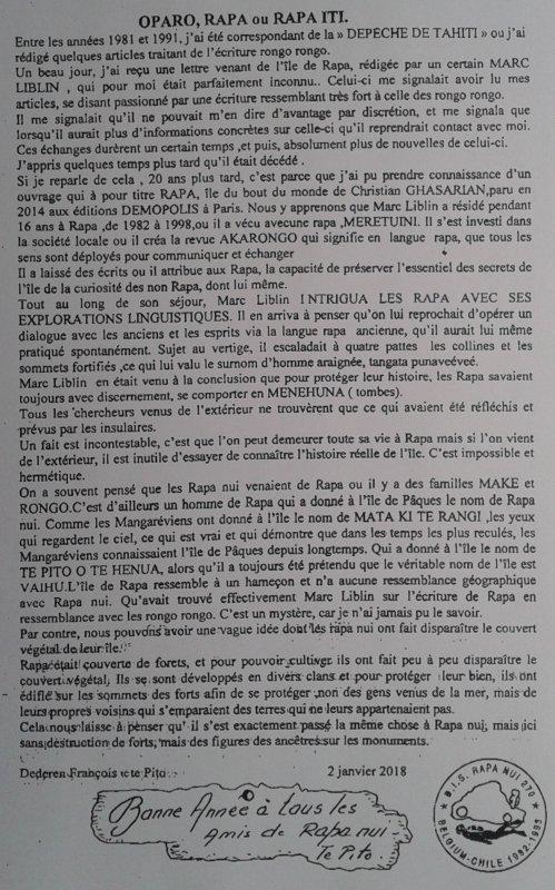 """337e article de FD: """"Oparo, Rapa ou Rapa Iti"""""""