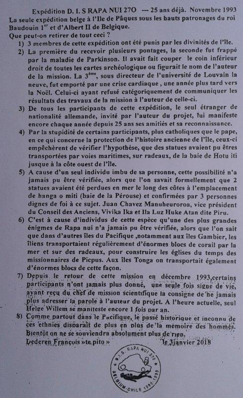 """338e article de FD: """"Expédition D.I.S. Rapa Nui 270 - 25 ans """""""