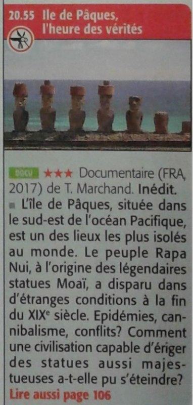 """Télémoustique du 21/02/2018: """"Ile de Pâques, l'heure des vérités"""" > france 5 > 27/02/2018 à 20h50'"""