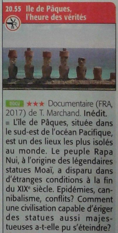 """Critique du film: """"Ile de Pâques, l'heure des vérités"""" (2017) par François Dederen """"Te Pito"""""""