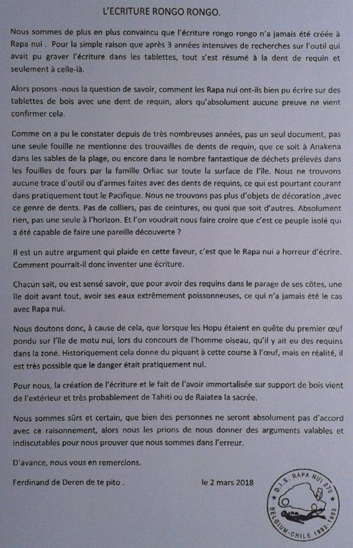 """342e article de FD: """"L'écriture rongo rongo"""""""