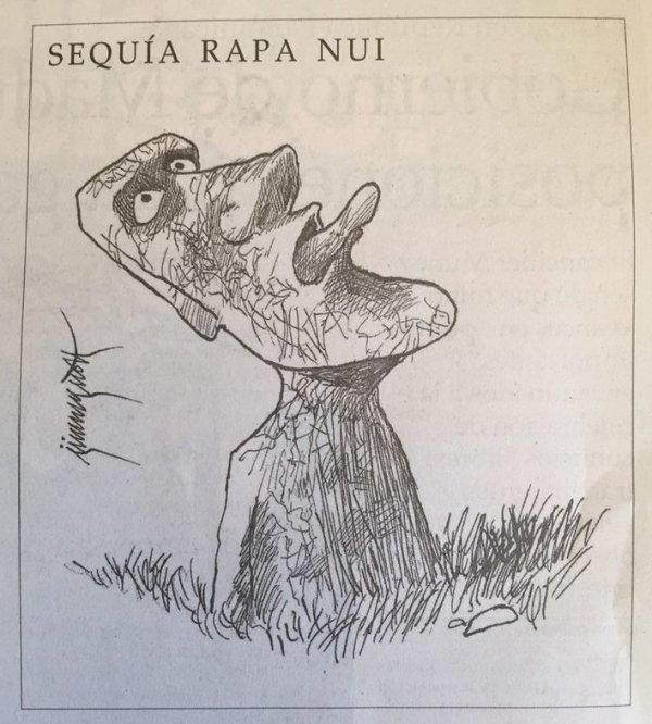 "Sécheressse à Rapa Nui (dessin issu du journal ""El Mercurio"" du 14/01/2018)"