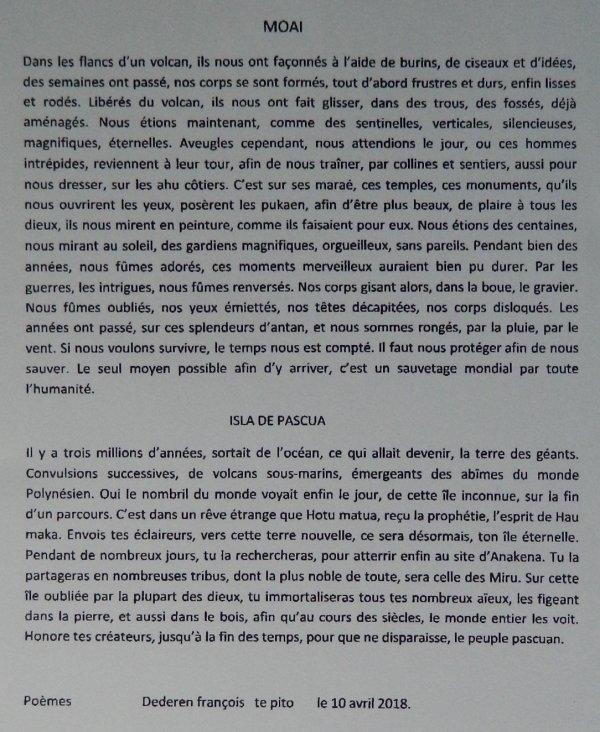 """351e article de FD: """"Poèmes - Moai - Isla de Pascua"""""""