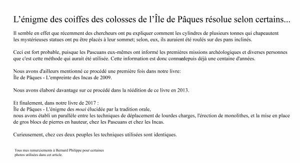 """""""Comment a-t-on posé les pukao sur les moai"""" par Jean Hervé Daude (1/3)"""