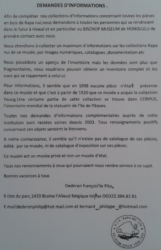 Demande d'informations de François Dederen ou Te Pito