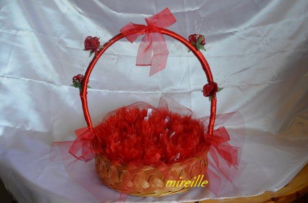 Corbeille de dragées et petits sacs de dragées