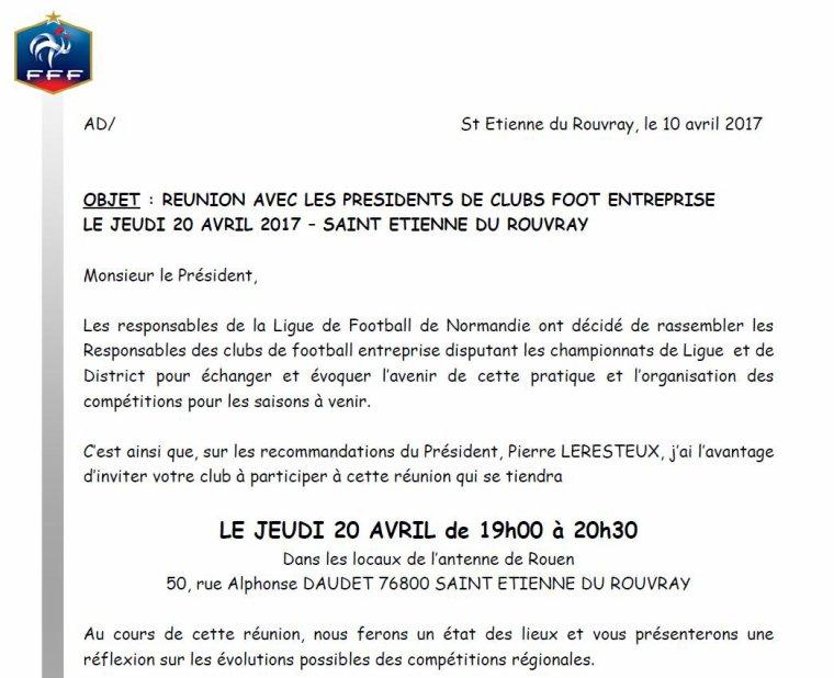 2017 - REUNION FE A LA LIGUE - Jeudi 20 Avril 2017