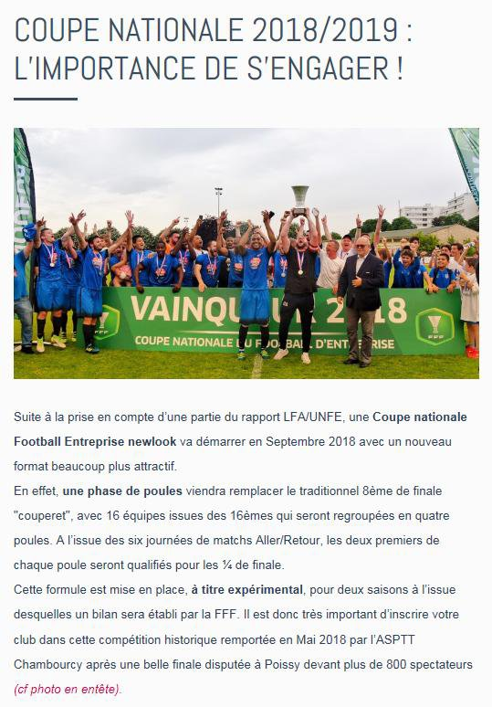 2018 - Coupe Nationale 2018/2019