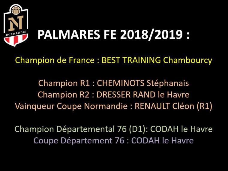 2019 - PALMARES 2018/2019
