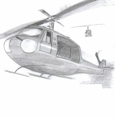 Enfin . . . On n'y verra rien . . . Hélicopter de combat