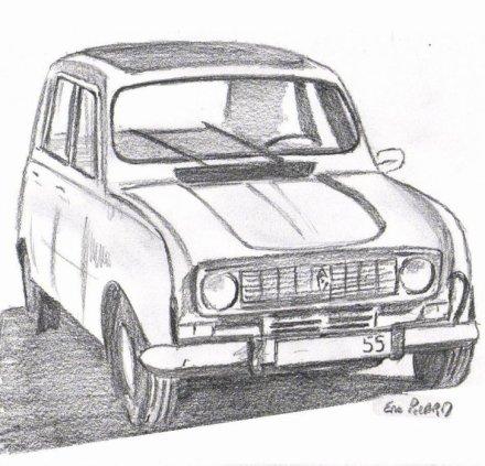 Notre bonne vieille 4l du bout de mes doigts le monde de l 39 art n 39 est pas - Dessin vieille voiture ...