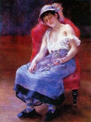 August Renoir (fille dormant avec un chat)