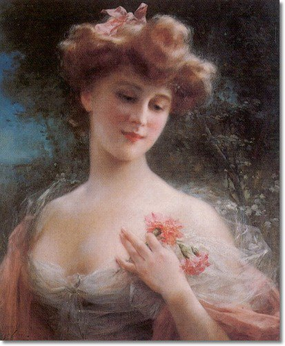 Emile Vernon : Lady with pink carnations