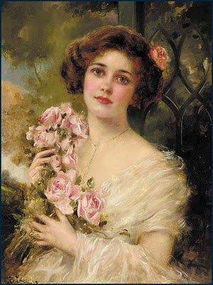 Emile Vernon : Jeune femme aux roses