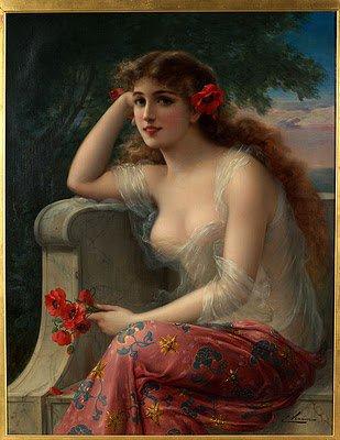 Emile Vernon : Girl with a Poppy