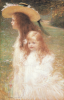 Charles Léandre : Jeanne et Madeleine Lemoine (Nièces de l'artiste) Pastel, 1901