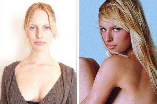 Mannequins avec et sans maquillage