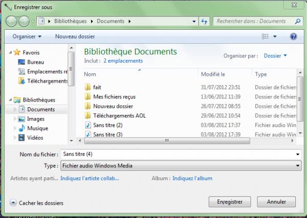 Magnétophone sur Windows 7