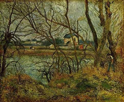 Camille Pissaro : Jour gris bords de l'Oise