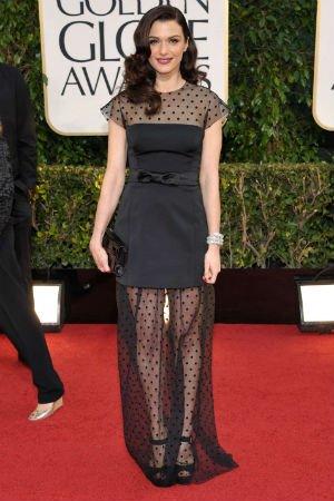 Rachel Weisz en robe à pois Louis Vuitton
