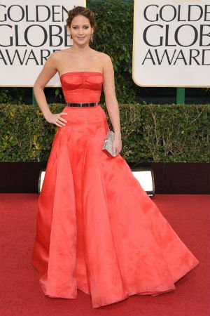 Jennifer Lawrence en robe bustier de Christian Dior Couture