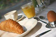 Déjeuner : Repas de type continental