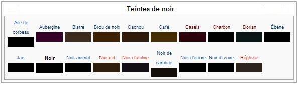 Noir : Pigments et colorants