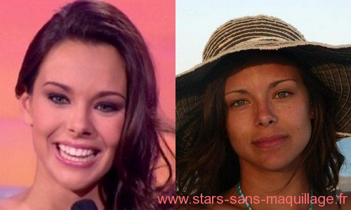 Marine Lorphelin : Miss France 2013 , Avec et sans maquillage