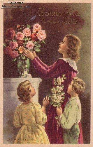 fête des mères : cartes postales anciennes