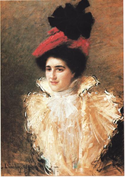 Charles Léandre : L'élégante au chapeau rouge, Pastel, 1898