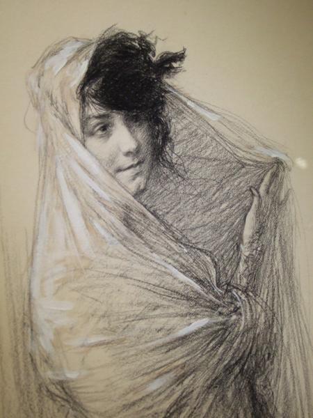 Charles Léandre : Jeune fille au châle, Pastel et fusain