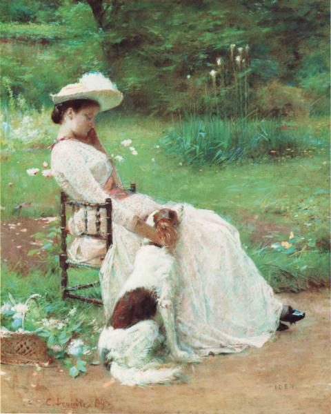 Charles Léandre : La femme au chien, Pastel, 1904