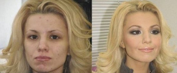 photos de filles avec et sans maquillage