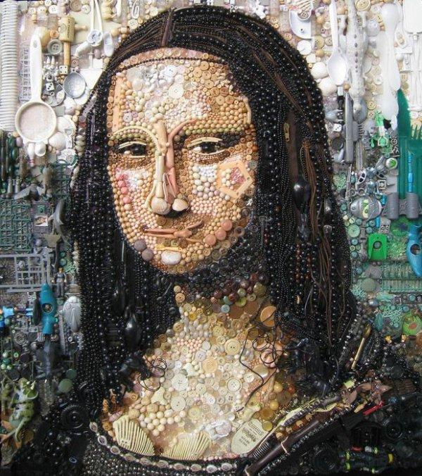 Jane Perkins : elle Recrée de Fantastiques Portraits Iconiques à L'aide D'objets Trouvés