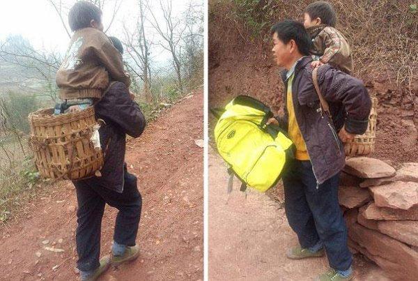 Un Papa Chinois Porte Sur Son Dos Son Fils Handicapé 30 km Par Jour