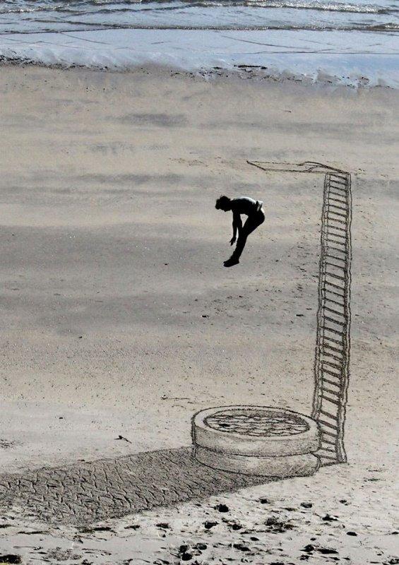 Jamie Harkins réalise de superbes ½uvres en 3D... sur le sable !