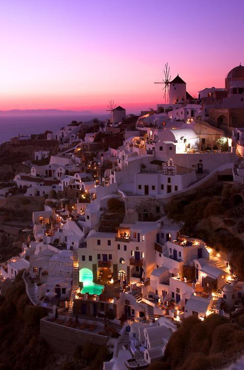 Santorin au coucher du soleil, Italie