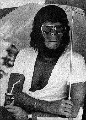 Roddy McDowall, sur le plateau, La Planète des singes, 1968