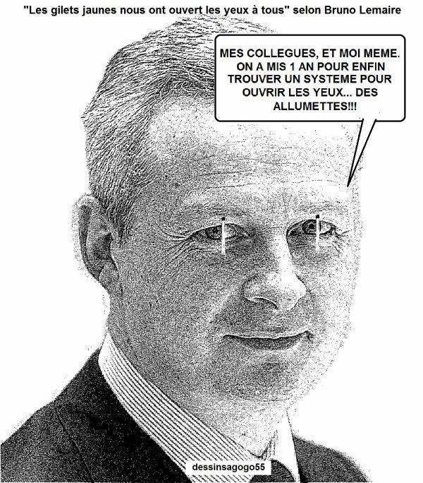 """""""Les gilets jaunes nous ont ouvert les yeux à tous"""" selon Bruno Lemaire, ministre de l'économie"""
