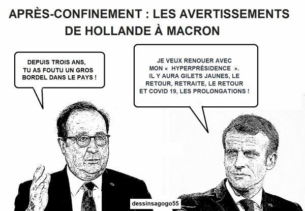 Après-confinement : les avertissements de Hollande à Macron