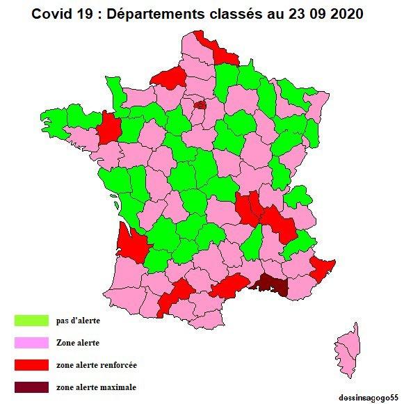 Covid 19 : Départements classés au 23 09 2020
