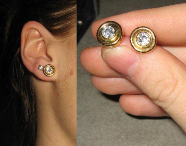 Boucles d'oreilles dorées+strass *2eu*