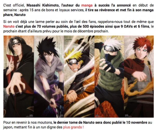 La fin de Naruto est confirmée !