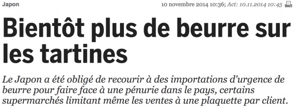 Plus de beurre ? What ?