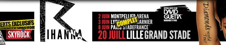 Concerts évènements SKYROCK : nouvelle date de Rihanna à Lille.