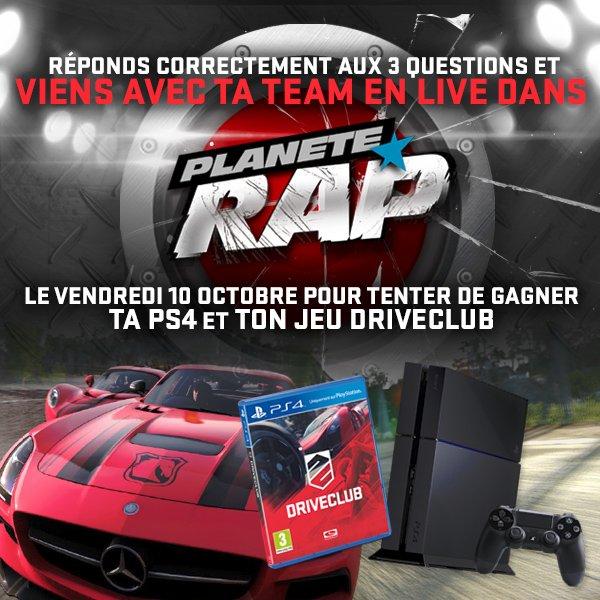TOURNOI DRIVE CLUB : VIENS AU PLANETE RAP EN LIVE AVEC TA TEAM !!