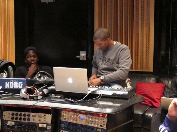 Pharrell & Shae en studio avec Pusha T & Rob Walker ... - Miami,FL - 3? décembre 2011