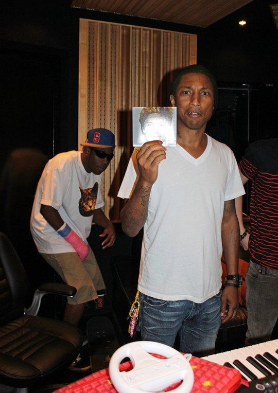 Pharrell en studio avec Tyler The Creator - mi-mars 2012